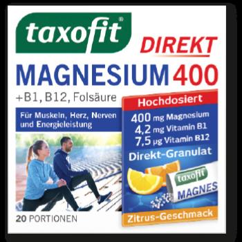 taxofit Magnesium 400 Direkt-Granulat + B1 + B12 + Folsäure